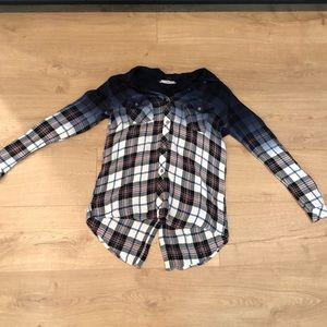 Ombré flannel button down long sleeve blouse.